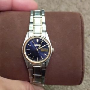 Seiko Silver Gold Blue Watch